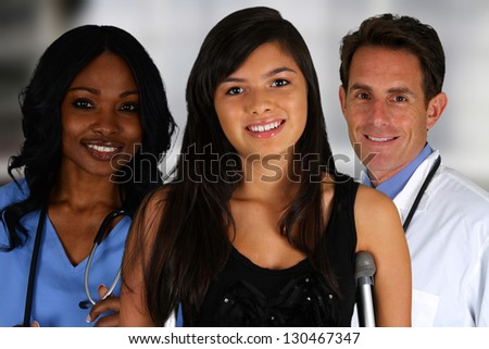 Group of doctors and nurses set in a hospital - stock photo