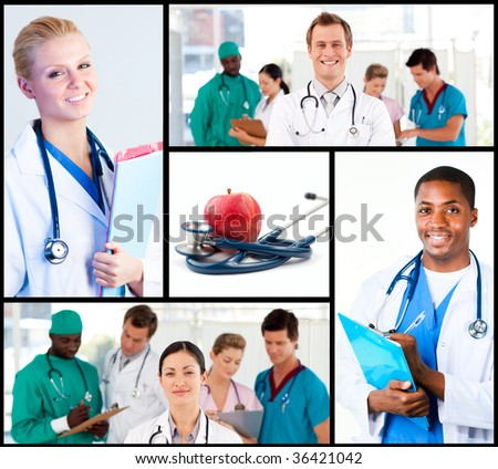 Group of doctors working in hospita - stock photo