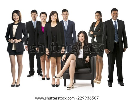 Group of eight Asian business people. Business team Isolated on white background. - stock photo