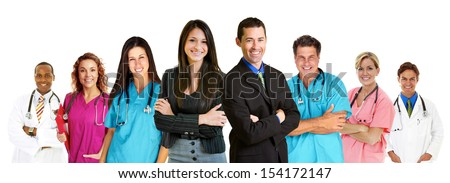 Group of eight medical profesionals isolated on white background - stock photo