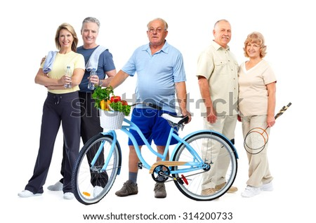 Group of elderly fitness people with bicycle isolated white background. - stock photo