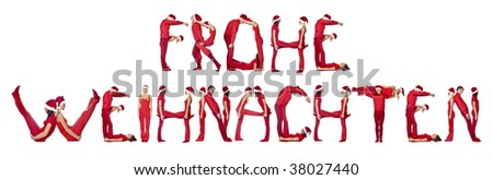 Group of elfs forming the phrase 'FROHE WEINACHTEN' against a white background - stock photo