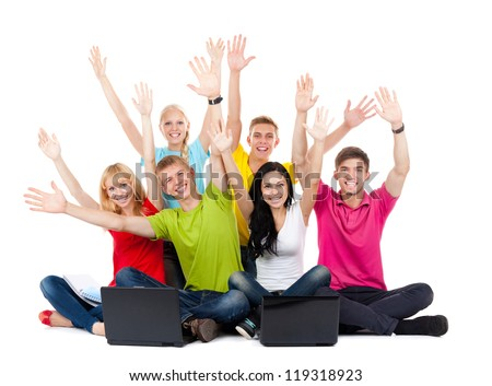 Group of excited people happy teenagers. Sitting Smile. Hands arms up. sit Isolated white background, front view. Full length Portrait of happy young students celebrating success - stock photo