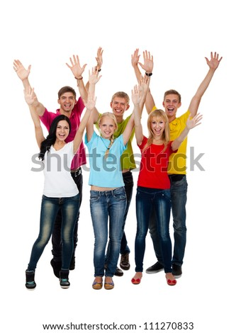 Group of excited people happy teenagers. Smiling and looking at camera. Hands arms up. Isolated white background, front view. Full length portrait of happy young students celebrating success - stock photo