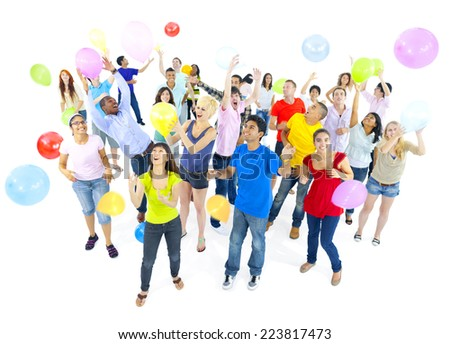 Group of Excited young adult Celebrating with Balloons - stock photo