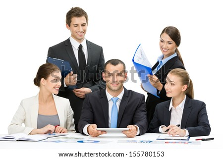 Group of executives debating while sitting at the table, isolated on white. Concept of teamwork and cooperation - stock photo