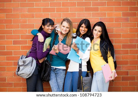 group of female college friends portrait - stock photo