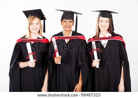 group of female graduates at graduation - stock photo