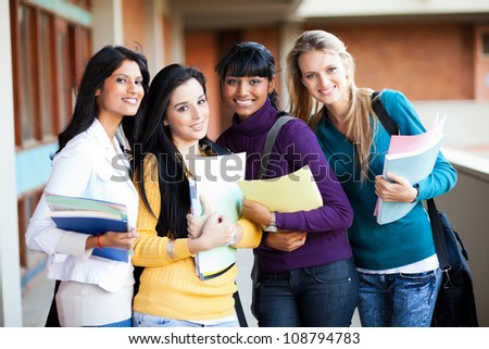 group of female multiracial college students portrait - stock photo