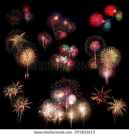 Group of Fireworks Celebration at night on black Background - stock photo