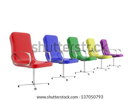 Group of five colorful chairs on white background - stock photo