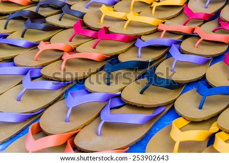 Group of flip flop sandals retro style. - stock photo