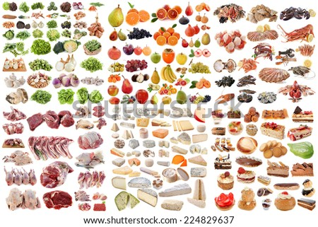 group of food in front of white background - stock photo