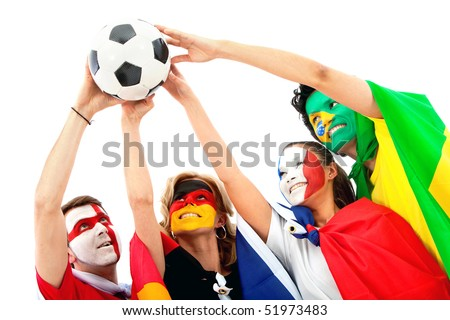 Group of football fans holding a soccer ball with their faces painted - Isolated over white - stock photo