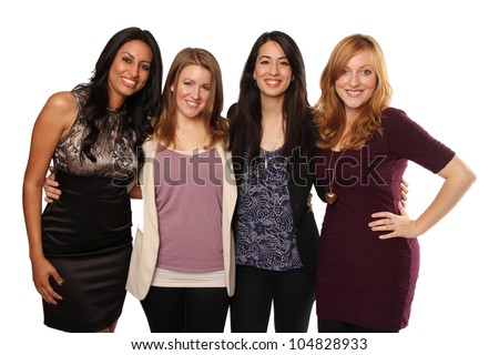 Group of Four Beautiful Diverse Young Women - stock photo