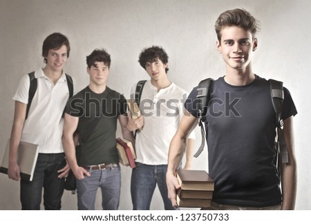 Group of four students - stock photo