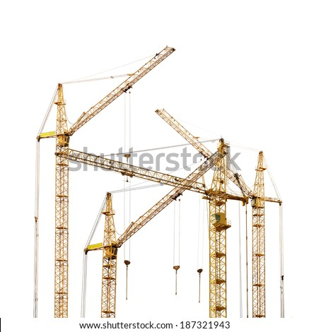 group of four yellow hoisting cranes isolate on white background - stock photo