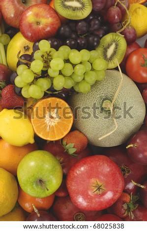 Group of fresh fruits background - stock photo
