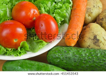 Group of fresh healthy vegetables - stock photo