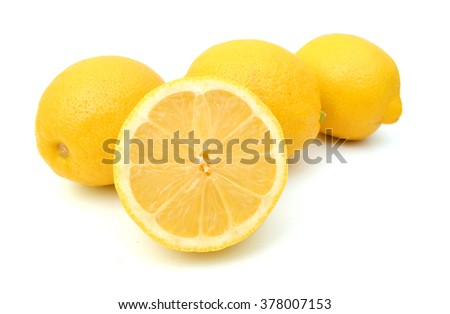 Group of fresh lemons on white background  - stock photo