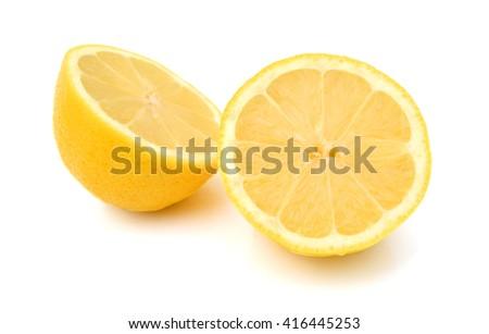 Group of fresh lemons on white background  - stock photo