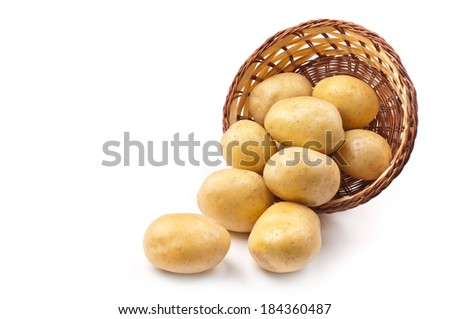 group of fresh potatoes. close-up. - stock photo