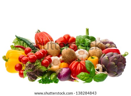 group of fresh vegetables and herbs isolated on white background. raw food. tomato, paprika, artichoke, mushrooms; cucumber, green salad, basil. diet food - stock photo