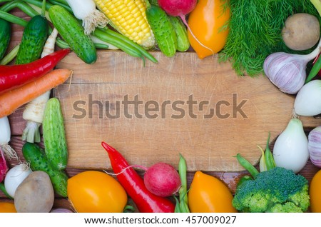 group of fresh vegetables on table - stock photo