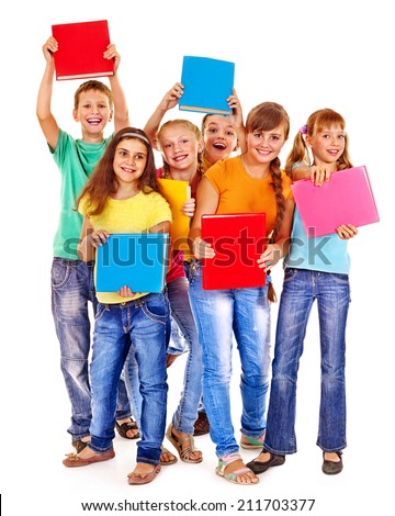 Group of friend teen school child with book.  Isolated. - stock photo