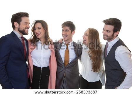 group of friendly business people talking and laughing - stock photo