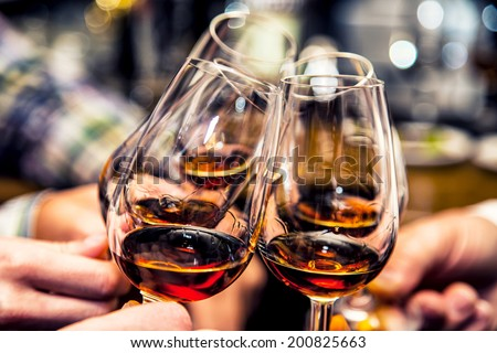 Group of friends a toast to the cheers of cognac or brandy.Cheers. - stock photo