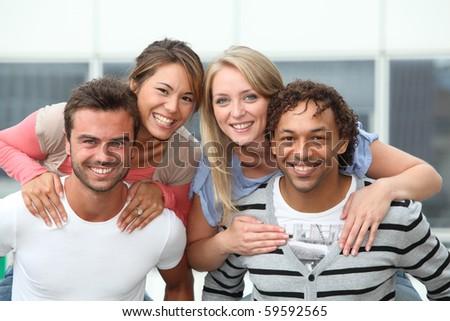 Group of friends having fun - stock photo