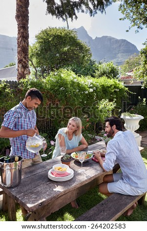 group of friends having outdoor garden dinner cocktail party - stock photo