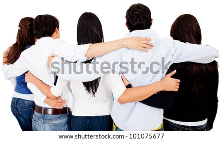 Group of friends hugging - isolated over a white background - stock photo