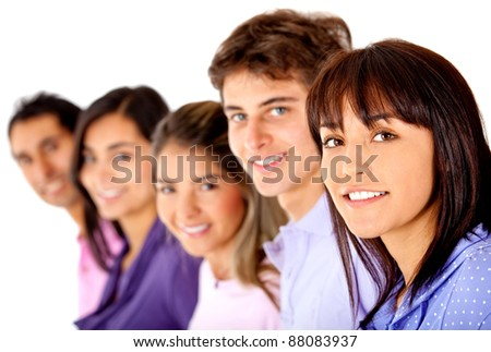 Group of friends in a row - isolated over a white background - stock photo