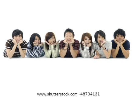 Group Of Friends In Studio - stock photo