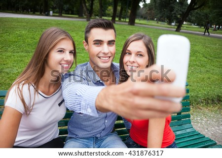 Group of friends taking a selfie portrait - stock photo