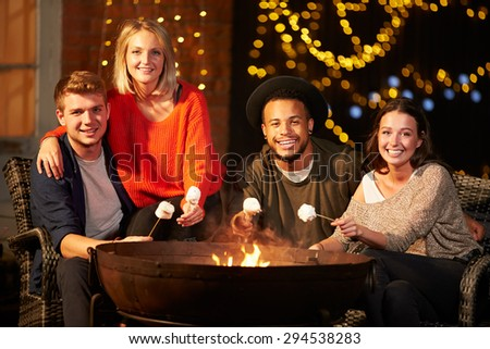 Group Of Friends Toasting Marshmallows By Firepit - stock photo