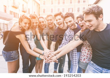 Group of Friends Together, Teamwork Concept - stock photo