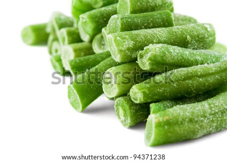 group of frozen french beans isolated over white - stock photo