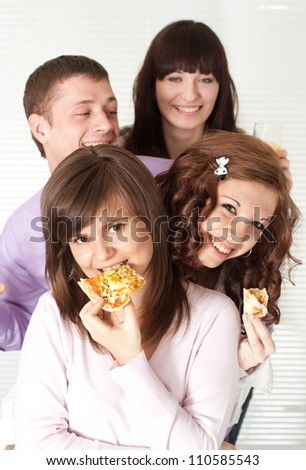 Group of fun young people had a great time with each other - stock photo
