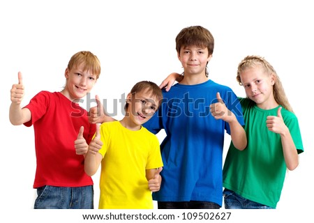 Group of funny children in bright T-shirt on a white background - stock photo