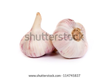 Group of garlics . A heads of garlics isolated on a white background - stock photo