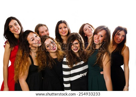 Group of girl friends isolated over a white background  - stock photo
