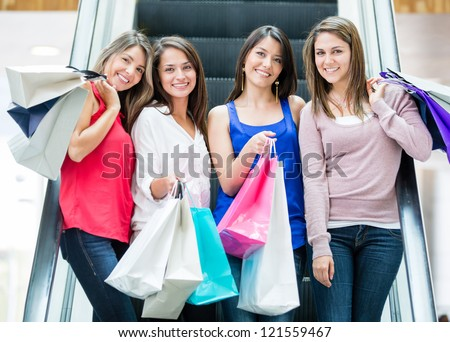 Group of girls at the shopping center - stock photo