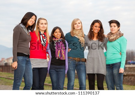 Group of Girls Outside - stock photo