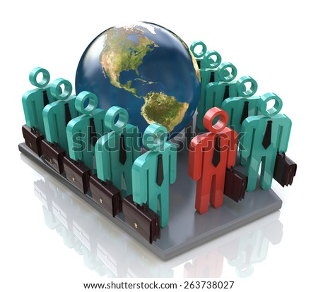 Group of global business people goes forward and Leader - Elements of this image furnished by NASA - stock photo