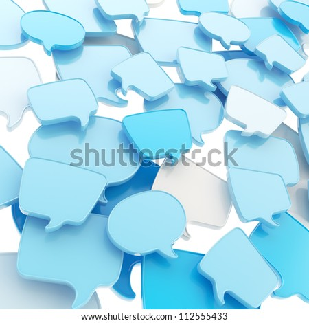 Group of glossy speech blue text bubbles randomly placed as abstract copyspace business communication background - stock photo