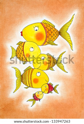 Group of gold fish, child's drawing, watercolor painting on paper - stock photo