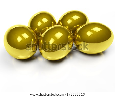 group of golden eggs isolated on white background - stock photo